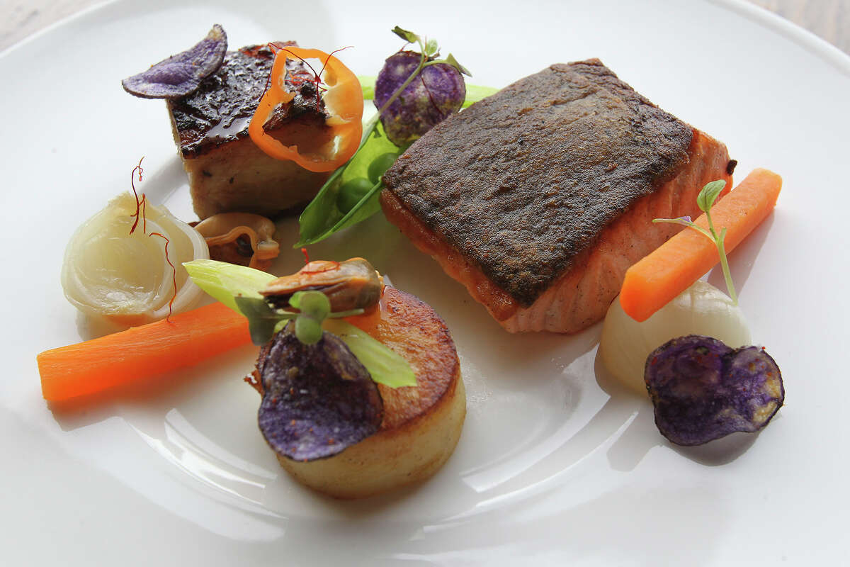 Salmon and pork belly at Starfish restaurant from a 2014 restaurant review.