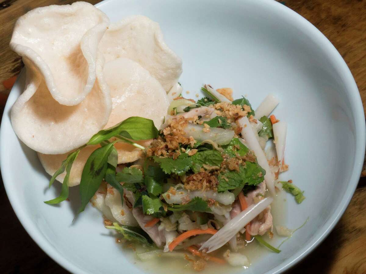 The lotus root chicken salad at Tuk Tuk Tap Room.