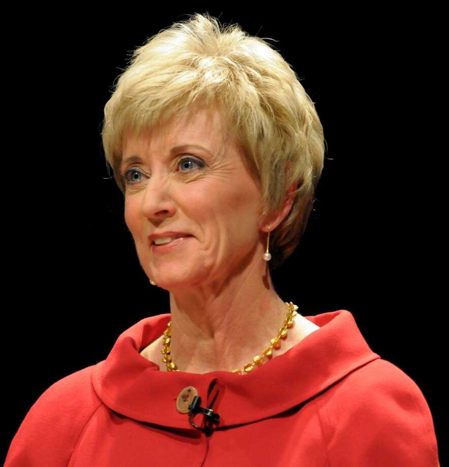 Former World Wrestling Entertainment CEO Linda McMahon attends a debate with money manager Peter Schiff and former Congressmen Rob Simmons at the Lincoln Theater on the University of Hartford campus in West Hartford, Conn., Tuesday, March 2, 2010. (AP Photo/John Woike, Pool) Photo: John Woike, AP / Pool, The Hartford Courant