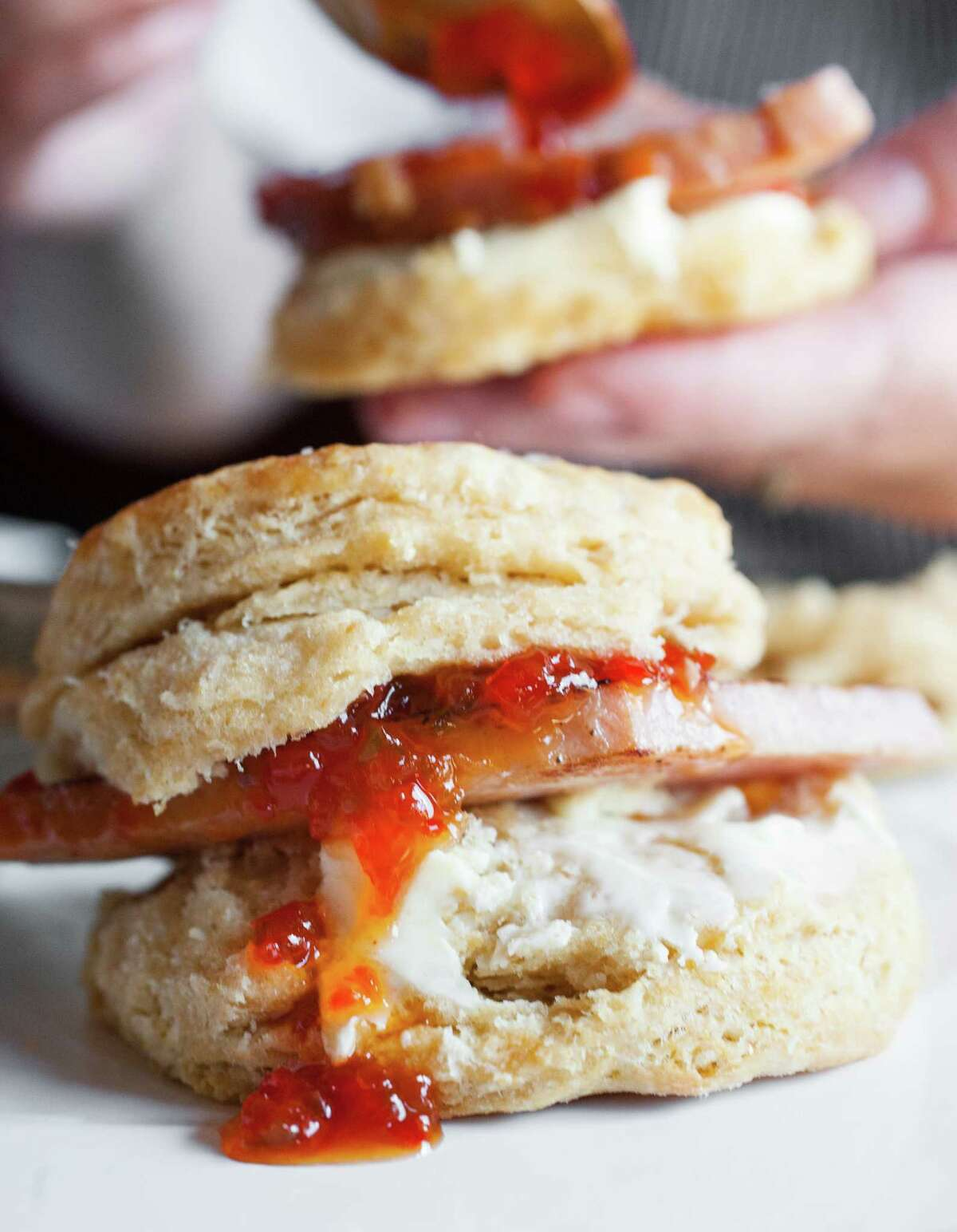 Ham and jam on biscuits at Punk's Simple Southern Food.