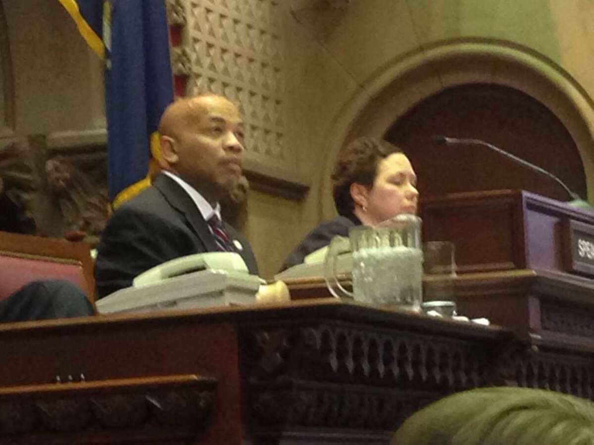 Assemblyman Carl Heastie takes his place in the speaker's seat. Lawmakers picked the Bronx Democrat to lead the chamber Tuesday. (Skip Dickstein / Times Union)