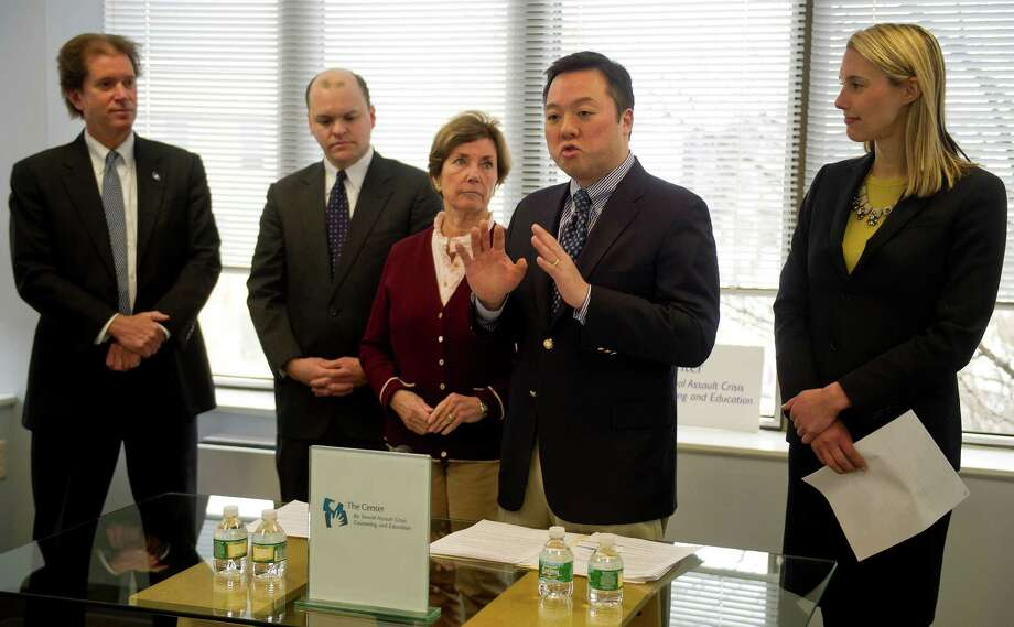 State Rep. William Tong, center, introduces a plan to stregnthen the mandated reporting law and increase penalties for not reporting during a press conference at the Center for Sexual Assault Crisis and Education on Tuesday, February 3, 2015. With Tong are, from left, State Sen. Scott Franz, State Rep. Daniel Fox, State Rep. Livvy Floren, and State Rep. Caroline Simmons. Photo: Lindsay Perry / Stamford Advocate