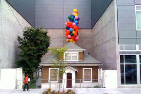 """Publicists for the Disney movie """"UP"""" tied balloons to Edith Macefield's Ballard house to promote the film in 2009."""