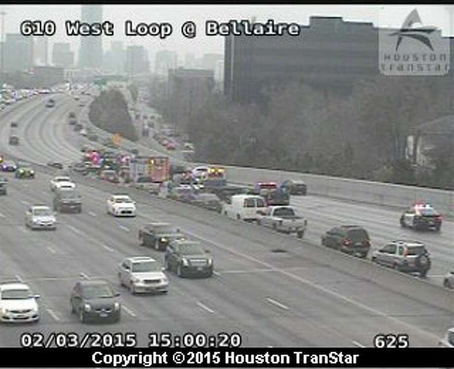 A five-car crash is affecting all mainlanes of traffic of northbound 610 West, Tuesday, Feb. 3, 2015. Photo: Houston TranStar