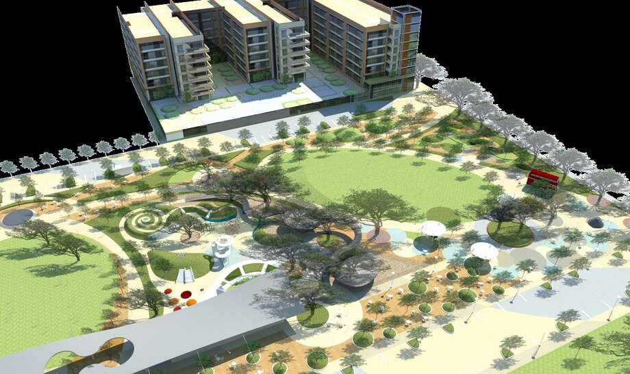 Office and residential developments by Midway will border Levy Park, which will undergo a $12 million renovation. Photo: Midway / ONLINE_YES