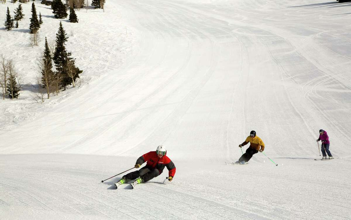 Skiers work the slopes at Jackson Hole Mountain Resort in the Grand Tetons of Wyoming.