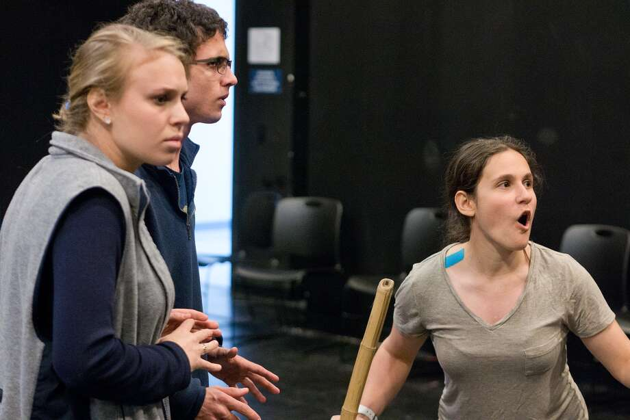 "Amanda Atzil, 17, left, Bram Lowenstein, 16, and Rachel Goodman, 18, rehearse for The Emery/Weiner School's production of Stephen Sondheim's ""Into the Woods."" Photo: R. Clayton McKee, Freelance / ©2015 R. Clayton McKee"