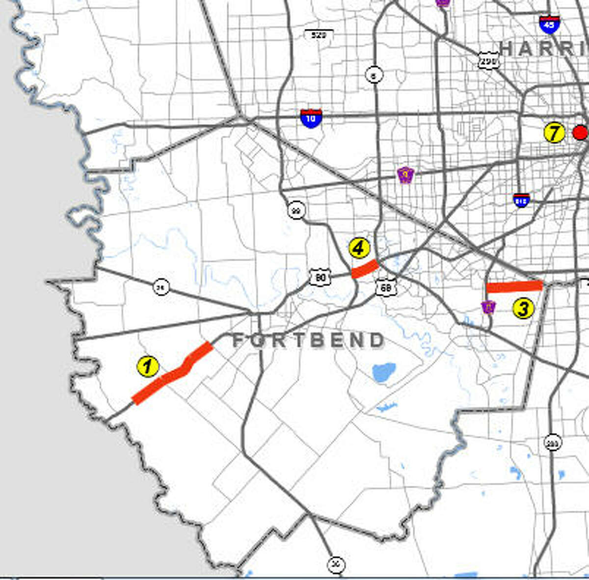 Three projects to increase road capacity in Fort Bend County are on the Houston-Galveston Area Council's list of projects to be implemented with Proposition 1 funding. They are: U.S. 59 from west of Spur 10 to Darst Road, FM 2234 from Fort Bend Parkway to FM 521, and U.S. 90A from Texas 99 to Texas 6.
