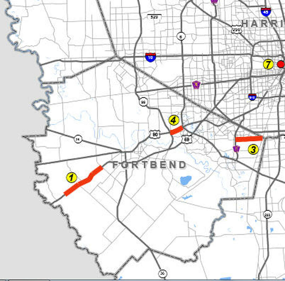 Three projects to increase road capacity in Fort Bend County are on the Houston-Galveston Area Council's list of projects to be implemented with Proposition 1 funding. They are: U.S. 59 from west of Spur 10 to Darst Road, FM 2234 from Fort Bend Parkway to FM 521, and U.S. 90A from Texas 99 to Texas 6. Photo: H-GAC