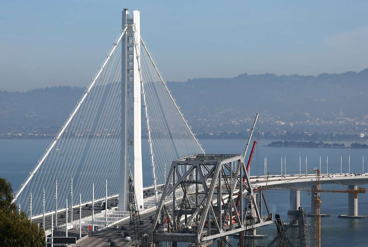 The tower of the eastern span of the Bay Bridge is seen in San Francisco, Calif. on Tuesday, Feb. 2, 2015. Access to the top and midlevel sections of the tower are next to impossible for maintenance work after the elevator failed after just a few uses.