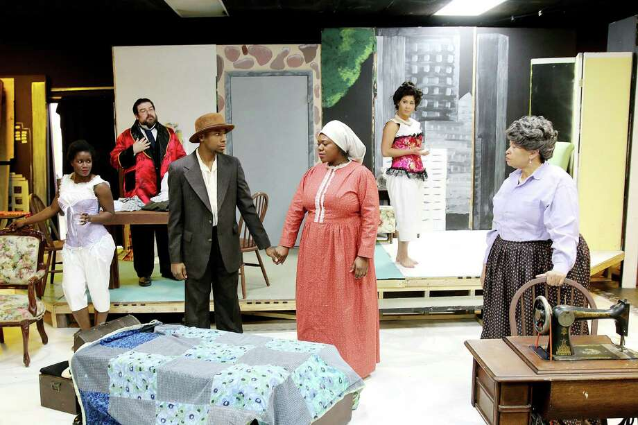 """Terri Reneé White of Pearland, center foreground, plays Esther, a single woman pursuing her dreams in turn-of-the-century New York  in Pearl Theater's production of """"Intimate Apparel."""" Other cast members are Kimberly Roberts, left, Jonathan Gonzalez, Artrell Sam, Loretta Petty and Monica Russo. Photo: Pin Lim, Freelance / Copyright Forest Photography, 2015."""