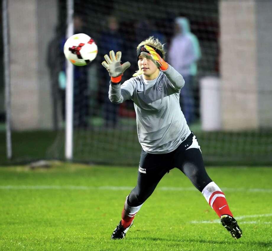 St. John's goalkeeper Laurel McKelvey has had a solid season. Photo: Eddy Matchette, Freelance / Freelance
