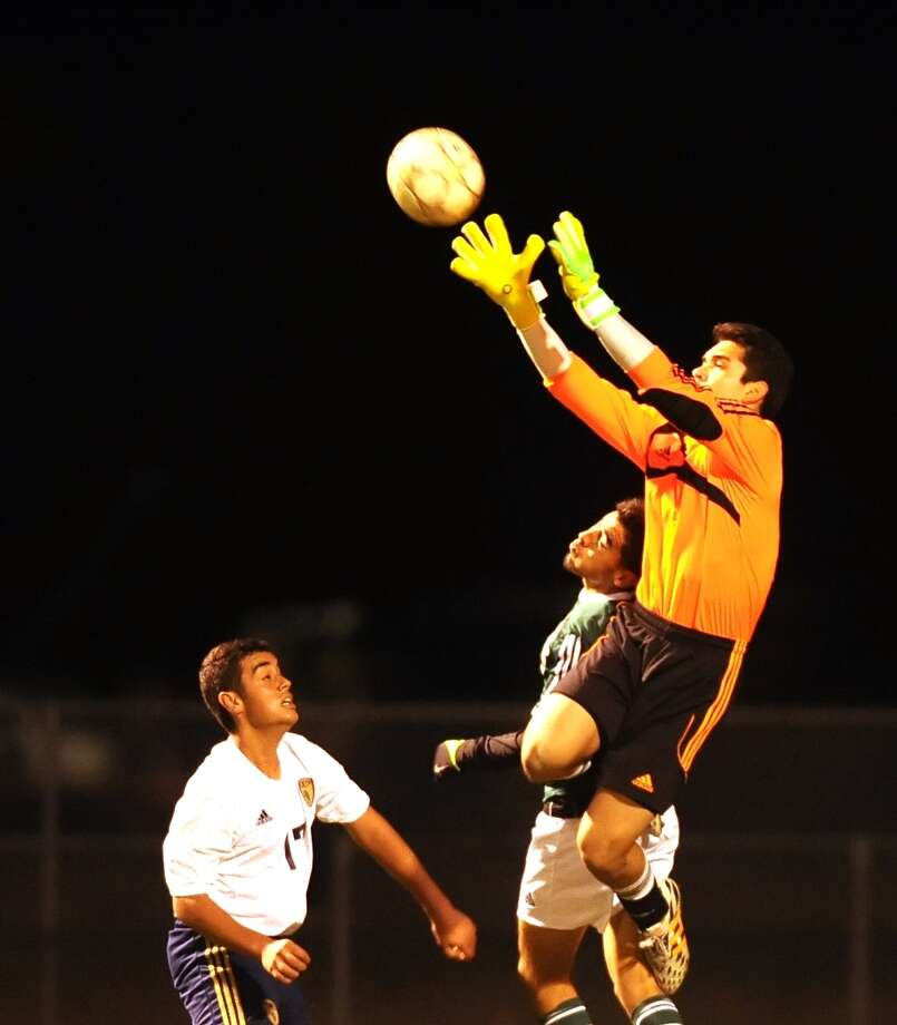 Spring goalkeeper Oliver Padilla has commanded his area this season in helping the Lions to a winning start in league play. Photo: Eddy Matchette, Freelance / Freelance