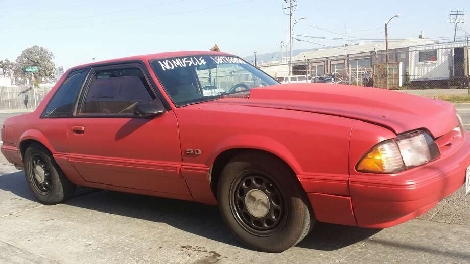 The driver of this red Mustang was involved in sideshow activity in Oakland, according to the California Highway Patrol. Photo: California Highway Patrol / ONLINE_YES