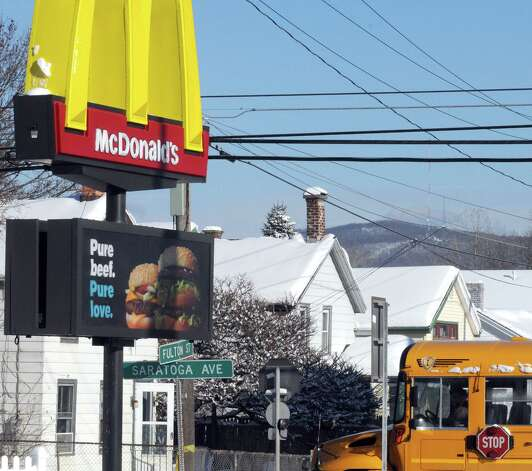The McDonald's at 42 Saratoga Avenue on Tuesday Feb. 3, 2015 in Waterford, N.Y. McDonalda€™s is now accepting Lovina€™ as a form of currency. With the launch of McDonalda€™s a€œPay with Lovina€™a€ Super Bowl commercial, the company is bringing the idea to life at participating restaurants across the U.S. Some lucky customers in the New York Capital Region as well as restaurants in the Berkshires of Massachusetts and select regions in Western Vermont, will be selected through a randomized process at predetermined times and engaged to pay with a Lovina€™ act instead of money. (Michael P. Farrell/Times Union) Photo: Michael P. Farrell / 00030430A