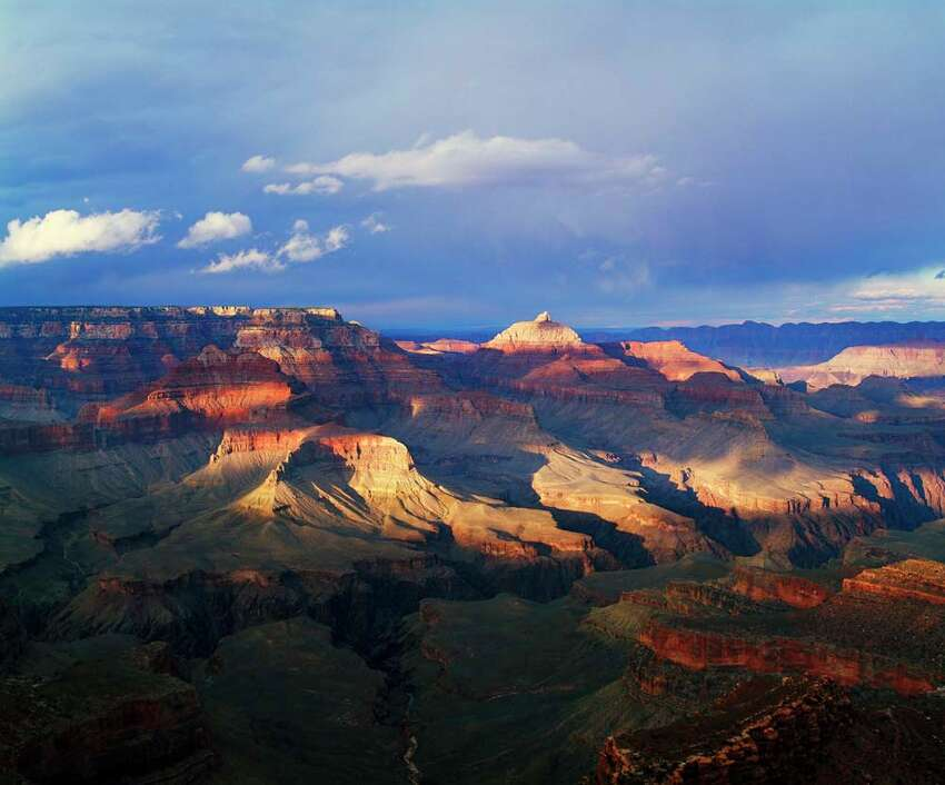 View of Grand Canyon from Shoshone Point, storm cloud shadows, south rim, Grand Canyon National Park, Arizona, USA.