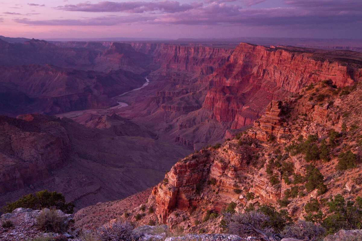 South Rim Desert View Point on East side of the Grand Canyon with Colorado River below.