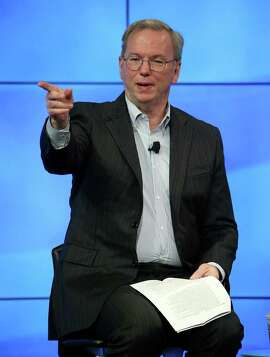 MOUNTAIN VIEW, CA - FEBRUARY 02:  Google Chairman Eric Schmidt speaks during a fireside chat with U.S. Transportation Secretary Anthony Foxx at the Google headquarters on February 2, 2015 in Mountain View, California.  U.S. Transportation Secretary Anthony Foxx joined Google Chairman Eric Schmidt for a fireside chat where he unveiled Beyond Traffic, a new analysis from the U.S. Department of Transportation that anticipates the trends and choices facing our transportation system over the next three decades.  (Photo by Justin Sullivan/Getty Images)