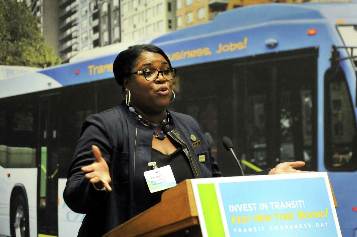 Latonya Crisp-Sauray, a bus driver in New York City, speaks about investing in public transportation on Tuesday, Feb. 3, 2015, at the Legislative Office Building in Albany, N.Y. (Cindy Schultz / Times Union)