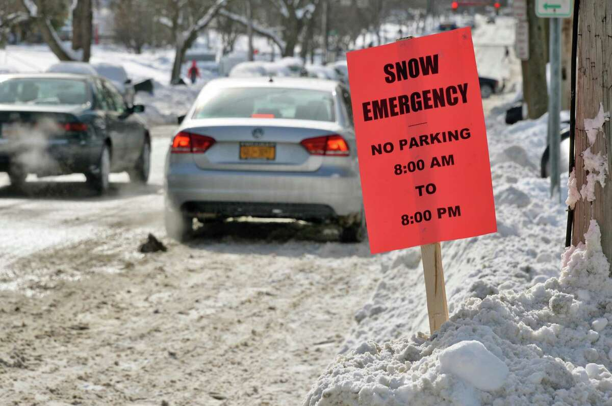 A snow emergency sign along 15th Street Tuesday Feb. 3, 2015, in Troy, NY. (John Carl D'Annibale / Times Union)