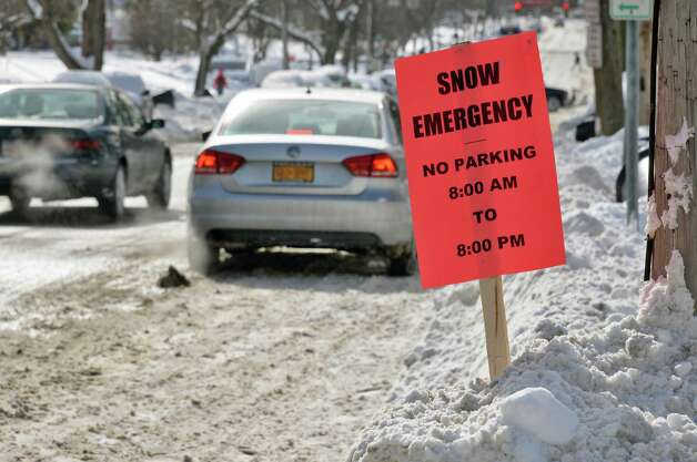A snow emergency sign along 15th Street Tuesday Feb. 3, 2015, in Troy, NY.  (John Carl D'Annibale / Times Union) Photo: John Carl D'Annibale / 00030433A