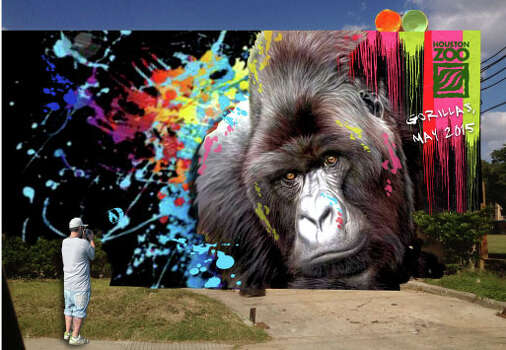 Five gorilla-inspired murals are going up. Here's an artist's digital rendering of what one might look like, just for scale. Check out the next slide for places and times where you can find each painter at work. Photo: Dylan Baddour