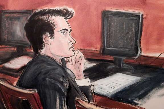 """Ross Ulbricht , formerly a student at the University of Texas at Dallas, listens to proceedings from the defense table during his criminal trial in New York, which began in mid January.. Assistant U.S. Attorney Timothy Howard described Ulbricht as a kingpin who created a website where """"anybody anywhere in the world could buy and sell dangerous drugs with a click of a mouse."""" Ulbricht's defense claims that he was just a man who launched an underground website as an economic experiment, but before abandoning it he was fooled into taking the fall when investigators concluded it was used almost solely for drug dealing. (AP Photo/Elizabeth Wlliams)"""