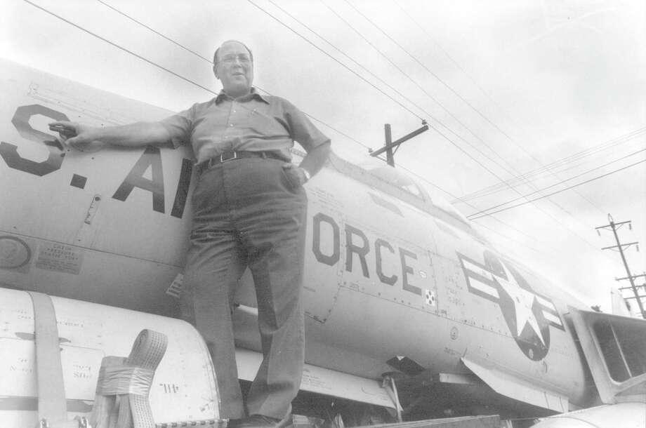 Walter Mayer, shown on May 27, 1987, was responsible for bringing the McDonnell Aircraft Corp. F-101 Voodoo supersonic jet to Beaumont. The jet was mounted on a pedestal at Babe Zaharias Park in 1990 along Interstate 10 just west of Martin Luther King Jr. Parkway.  David Trammell/Beaumont Enterprise Photo: David Trammell/Beaumont Enterpri