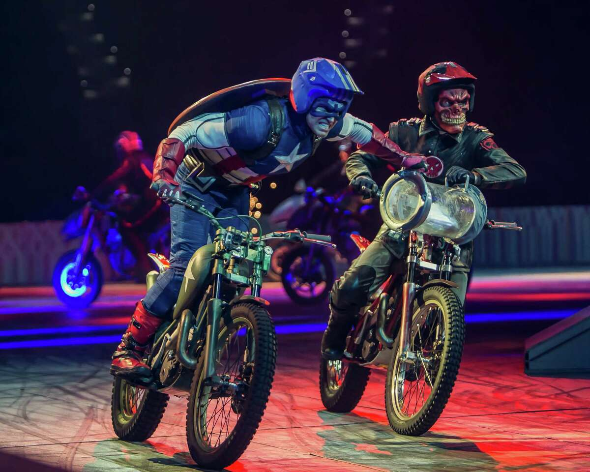"""This undated image released by Marvel Entertainment shows performers dressed as Marvel characters in the new live arena show called """"Marvel Universe Live!"""" The show has begun an 85-city over the next two years, flooding stages with a dizzying array of actors and promising to up the ante when it comes to theatrical events. (AP Photo/Marvel Entertainment)"""