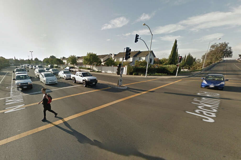 A motorist involved in a hit-and-run crash at the intersection of Jacklin Road and North Milpitas Boulevard, in Milpitas was later found dead a short distance away. Photo: Google Maps