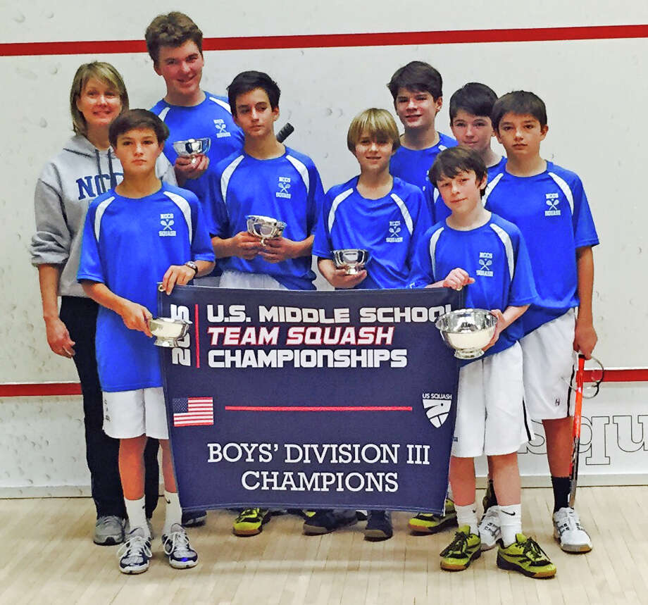 New Canaan Country School boys squash team (from left): Bo Zeigler of Rowayton, Carson Teitler of New Canaan (captain), Teddy Schoenholtz of New Canaan, TJ Stoker of Pound Ridge, N.Y., Cam Raker of Darien, Win Lane of New Canaan, Teddy Zinn of New Canaan and Nate Stevens of Darien, with Coach Cynthia Badan. Photo: Contirbuted, Contributed / New Canaan News