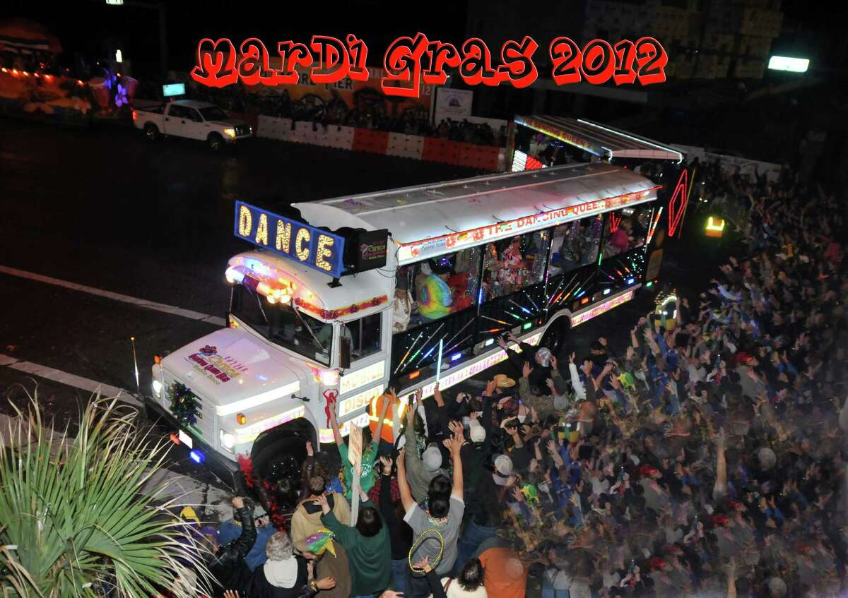 The Dancing Queen Bus owned by Carnes Funeral home that appears in parades and events.