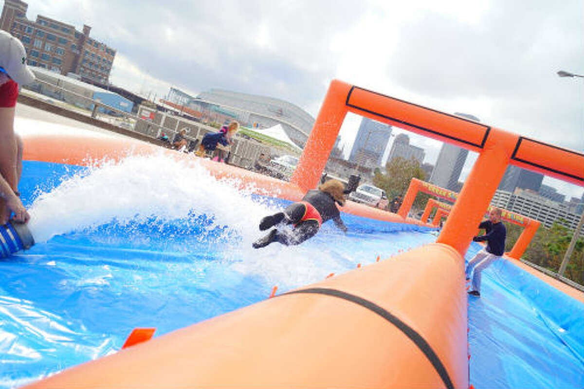 In December the Urban Slide team held a trial run of the slide here in Houston before heading out on tour. The Urban Slide hits Houston March 7-8 at the Elysian Viaduct, where the 1,000-foot slide will reside for two days.