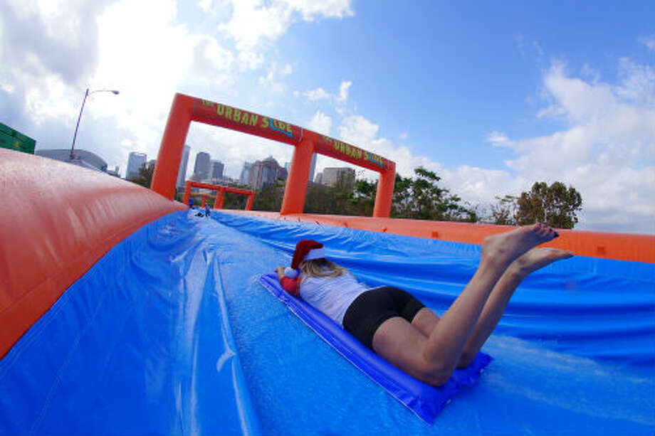 In December the Urban Slide team held a trial run of the slide here in Houston before heading out on tour. The Urban Slide hits Houston March 7-8 at the Elysian Viaduct, where the 1,000-foot slide will reside for two days. Photo: Urban Slide /Luis Acosta