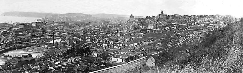 Downtown at the time: The view of Seattle from Beacon Hill looking toward Elliott bay. Photographed in 1898. Photo courtesy of Museum of History and Industry. This image was published in a 1997 edition of the Seattle Post-Intelligencer.