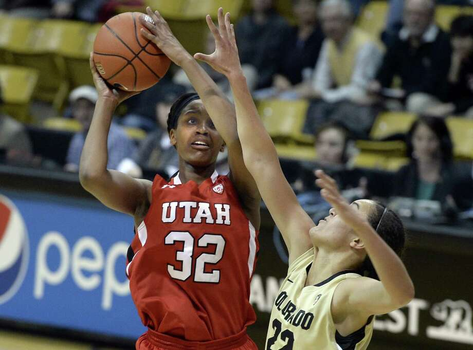 Utah's Tanaeya Boclair, a former Brennan star, shoots over Colorado's Haley Smith during the first half on Jan. 14, 2015, in Boulder, Colo. Photo: Jeremy Papasso /Associated Press / Daily Camera