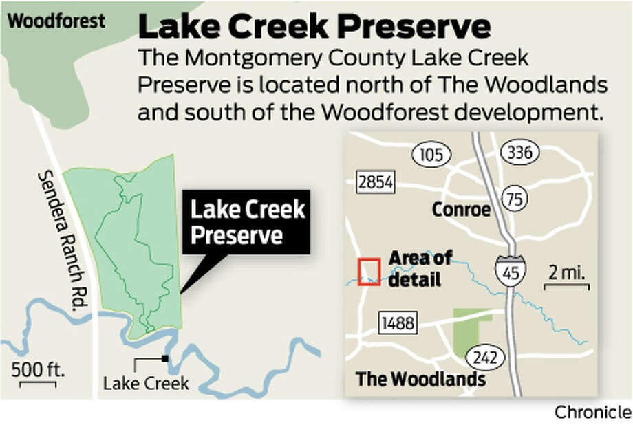 The Montgomery County Lake Creek Preserve is located north of The Woodlands and south of the Woodforest development.
