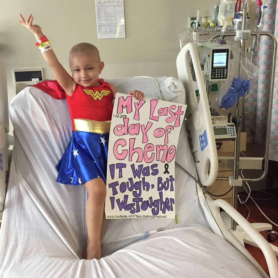 Sophia Sandoval, 3, announced her last day of chemotherapy while wearing a Wonder Woman costume. Photo: Courtesy Photo/Facebook
