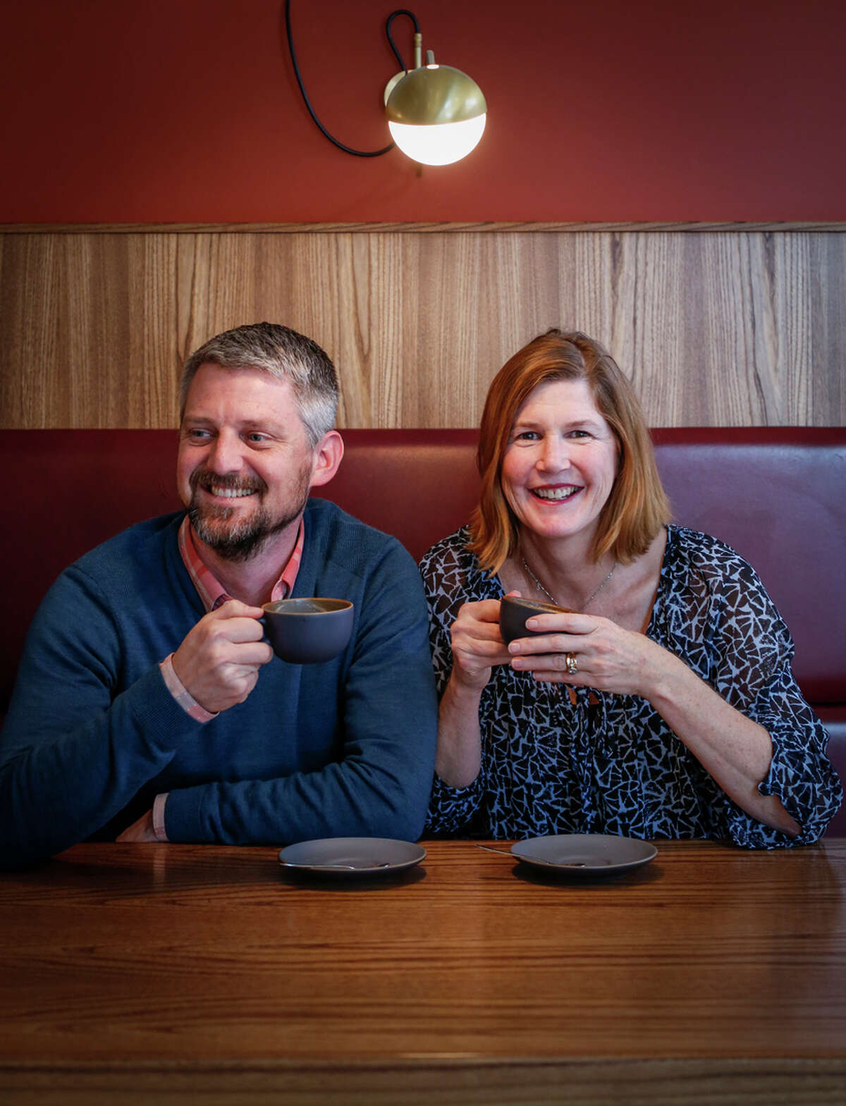Architects Seth Boor and Bonnie Bridges at Mazarine in San Francisco, one of the coffee houses that showcases the Boor Bridges hallmark: a perfect blend of industrial and rustic design.