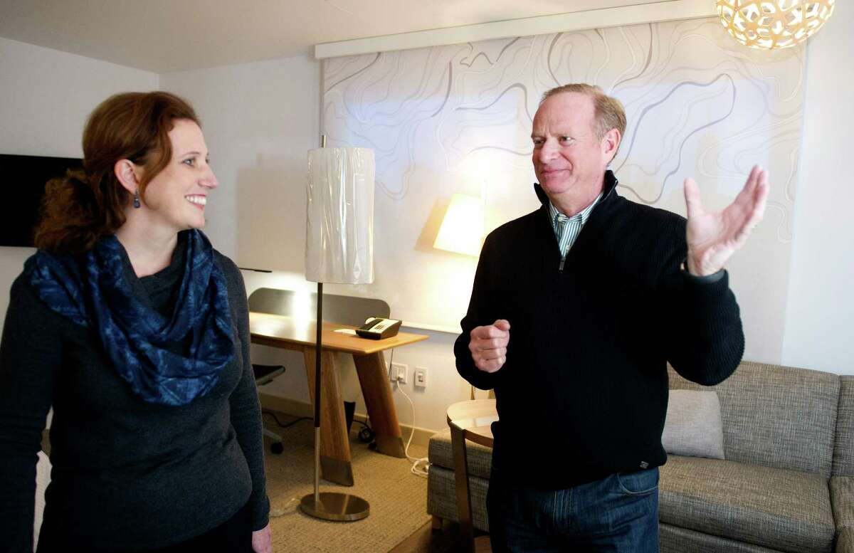 Andrea Pinabell, Vice President of Sustainability, left, and Ken Siegel, Chief Administration Officer and General Counsel, right, talk about Starwood Hotels' LEED Platinum status at the company's building in Stamford, Conn., on Tuesday, February 4, 2015.