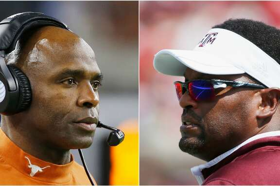 According to ESPN, Texas' Charlie Strong (left) has the best coaching job among Power 5 schools while Kevin Sumlin's gig at Texas A&M falls just outside of the top 10.
