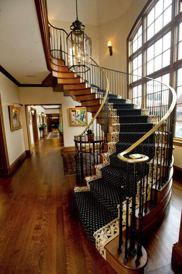 The spiral staircase at 200 Guards Road in Greenwich, Conn., on Wednesday, February 4, 2015. The home is listed for sale at $27.895 million. Photo: Lindsay Perry / Stamford Advocate