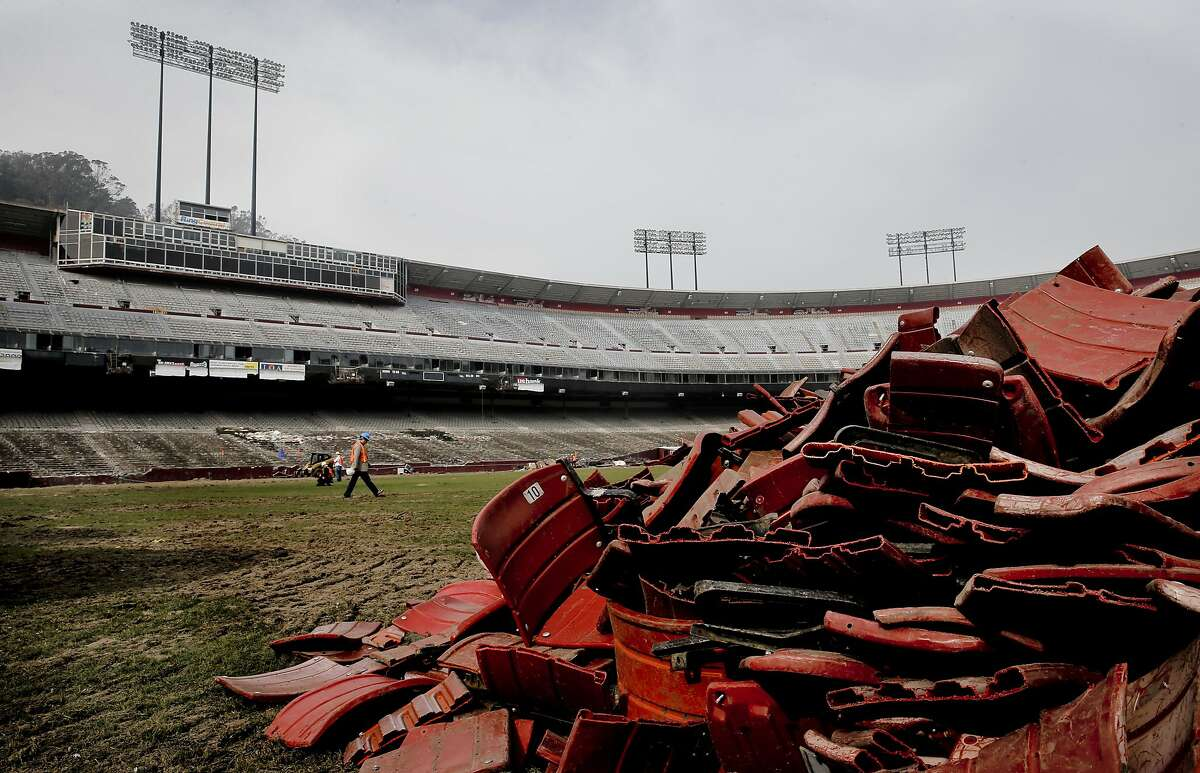 The official demolition of Candlestick Park began today in San Francisco, Ca. as seen on Wednesday Feb. 4, 2015.
