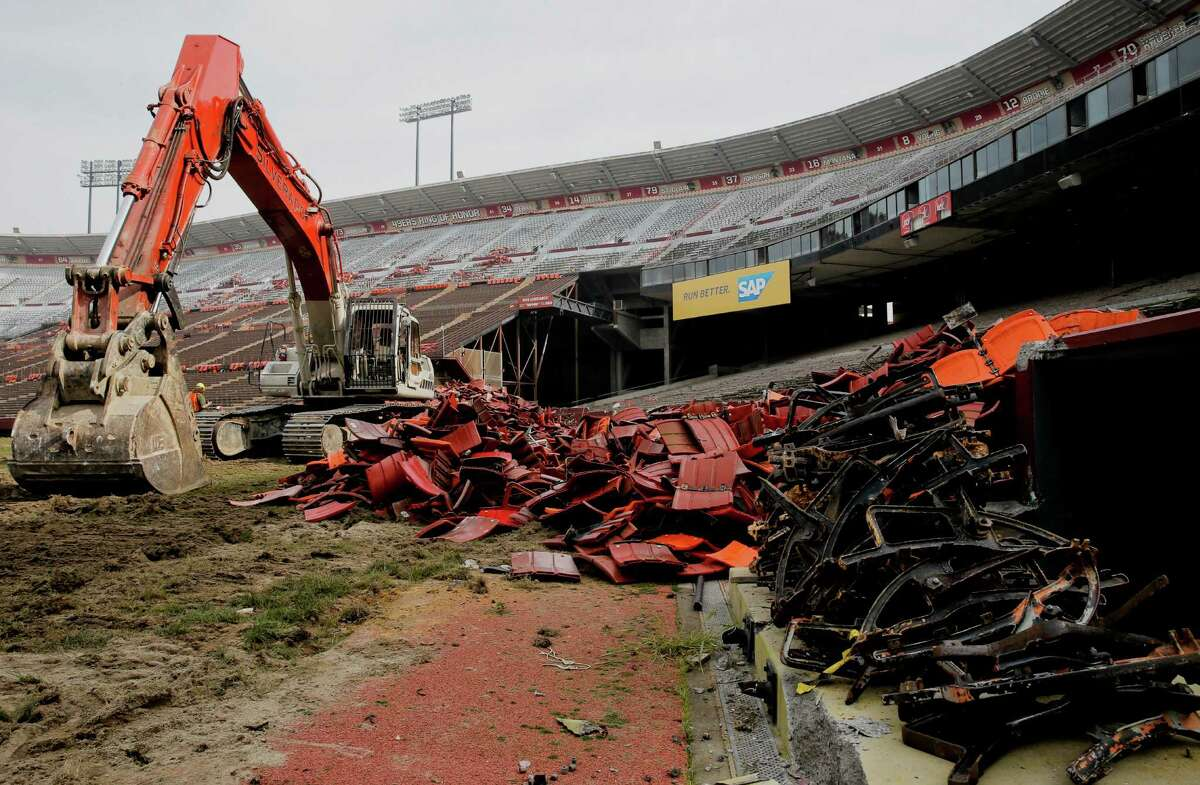 Workers continue the demolition effort at Candlestick Park on Feb. 4, 2015.