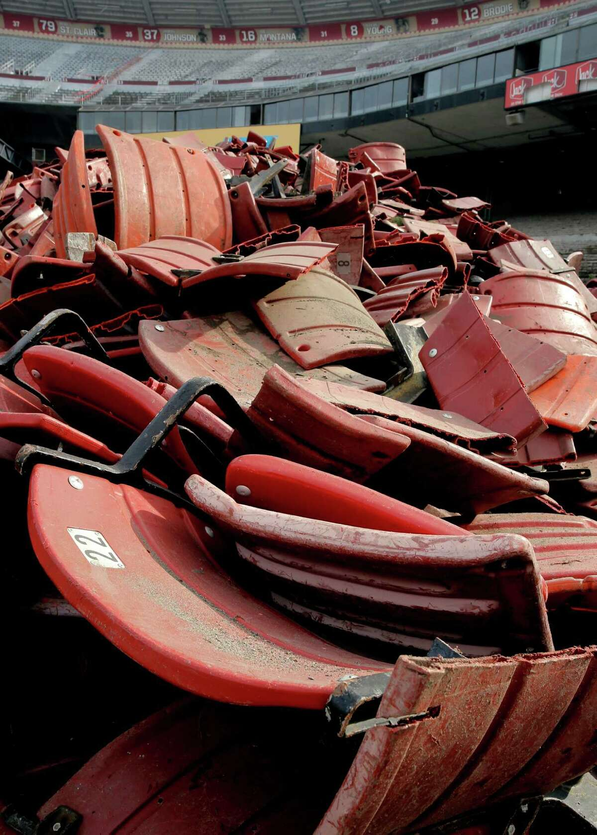 Seats are piled high for removal during the demolition process for Candlestick Park on Feb. 4, 2015.