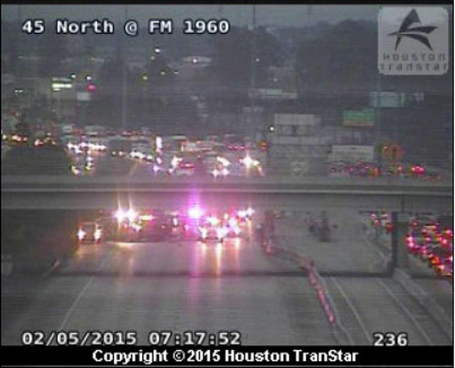 A two-vehicle wreck shut all inbound lanes of Interstate 45 at Parramatta Lane about 7 a.m. Thursday. Photo: Houston TranStar