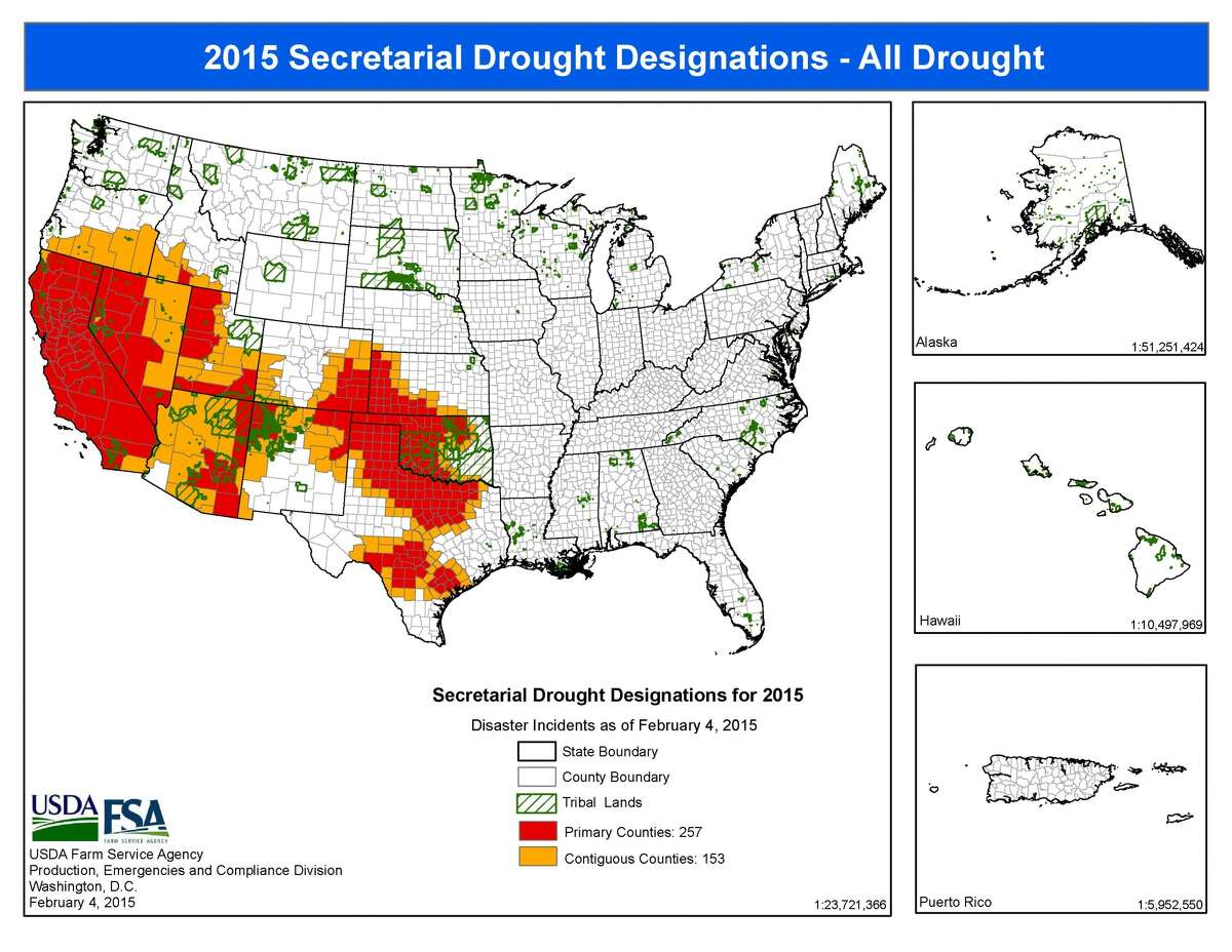 THe USDA declared 156 Texas counties drought disaster areas for the harvest season 2015. That number has steadily declined since 100 percent of Texas was under emergency declaration in 2011.