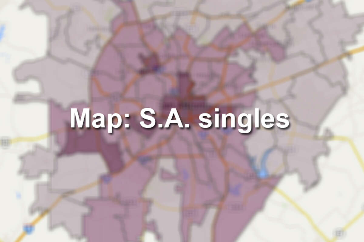 """Click through to see the 20 San Antonio ZIP codes where the highest percentage of residents can still be considered """"single,"""" and where you probably have a better chance of finding love. The lightest shade on the map marks areas where the majority of the population is considered """"married"""" by U.S. Census measures."""