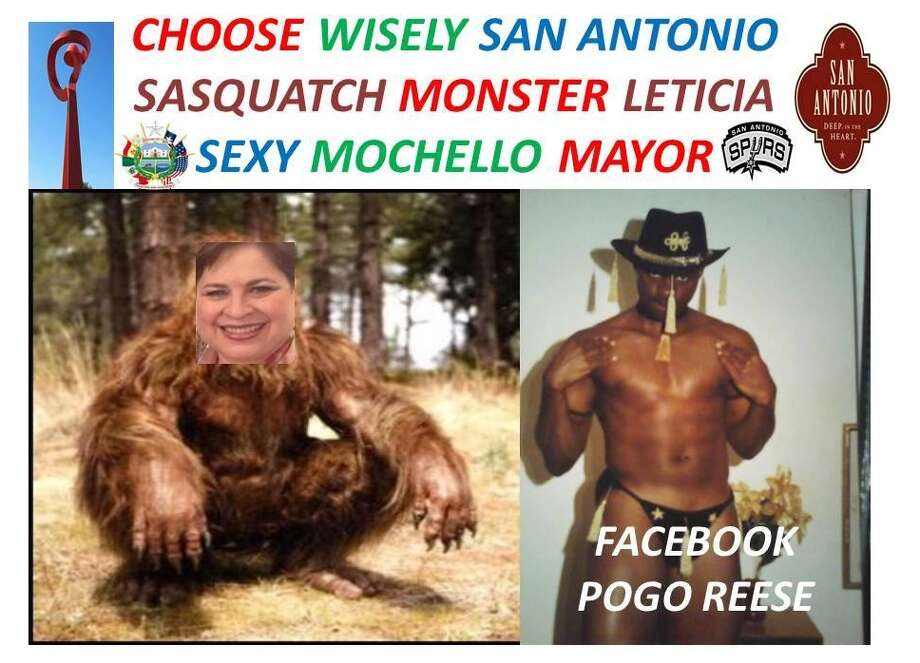"Pogo Mochello Allen-Reese, a former stripper, is running for San Antonio mayor. He posted this meme to Facebook calling opponent Leticia Van de Putte a ""sasquatch monster."" Photo: Facebook, Courtesy"
