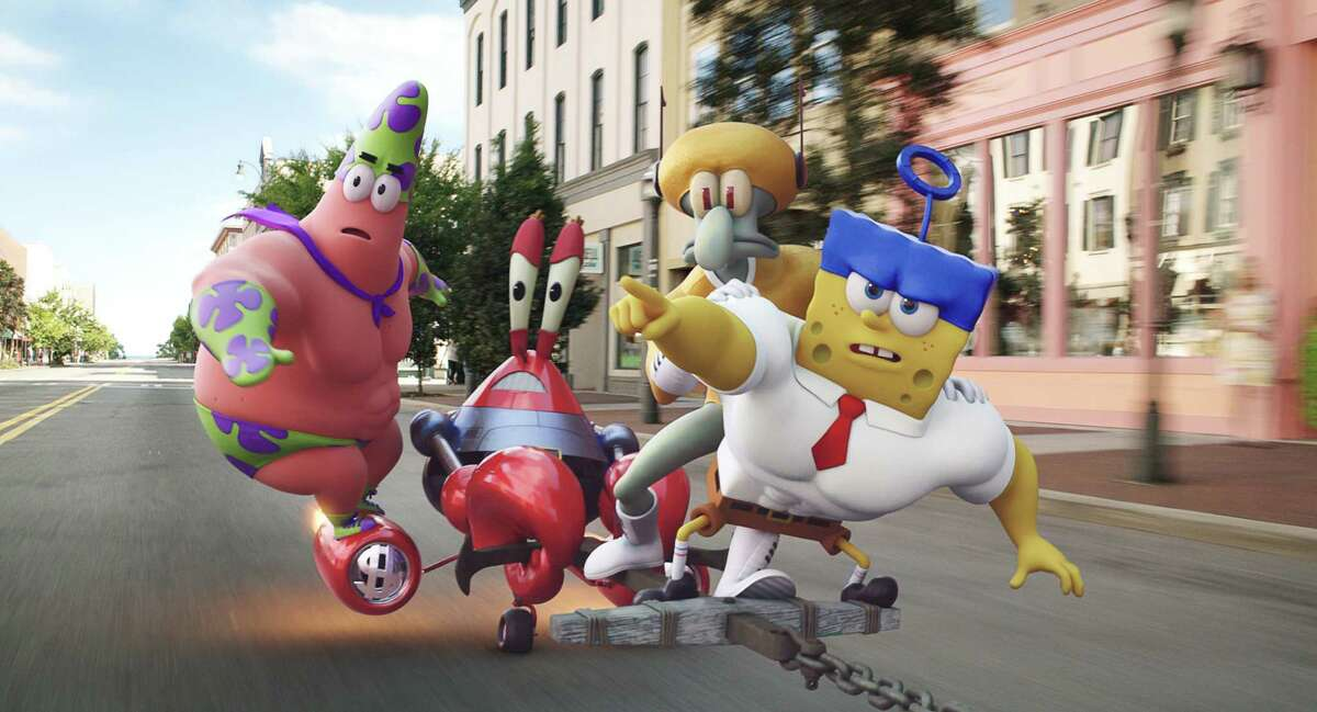 From left, Patrick Star (as Mr. Superawesomeness), Mr. Krabs (as Sir Pinch-A-Lot), Squidward Tentacles (as Sour Note), and SpongeBob SquarePants (as The Invincibubble) in THE SPONGEBOB MOVIE: SPONGE OUT OF WATER, from Paramount Pictures and Nickelodeon Movies. (Paramount Pictures)